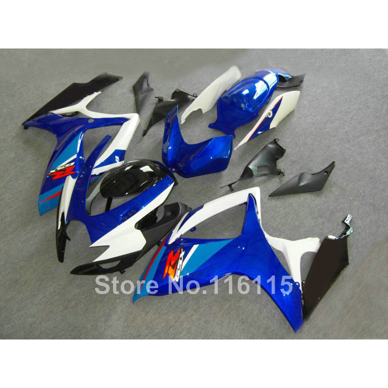 Injection mold fairing kit for SUZUKI GSXR 600 750 K6 K7 2006 2007 blue white black GSXR600 GSXR750 fairings set 06 07 NF7 abs motorcycle parts for suzuki gsxr 1000 k7 k8 07 08 fairing kit gsxr1000 2007 2008 white silver black fairings set js87