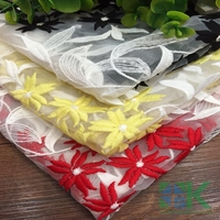 High Quality 2016 New 1Y W130cm Willow Double Color Organza Embroidered Lace Fabric African Swiss Voile