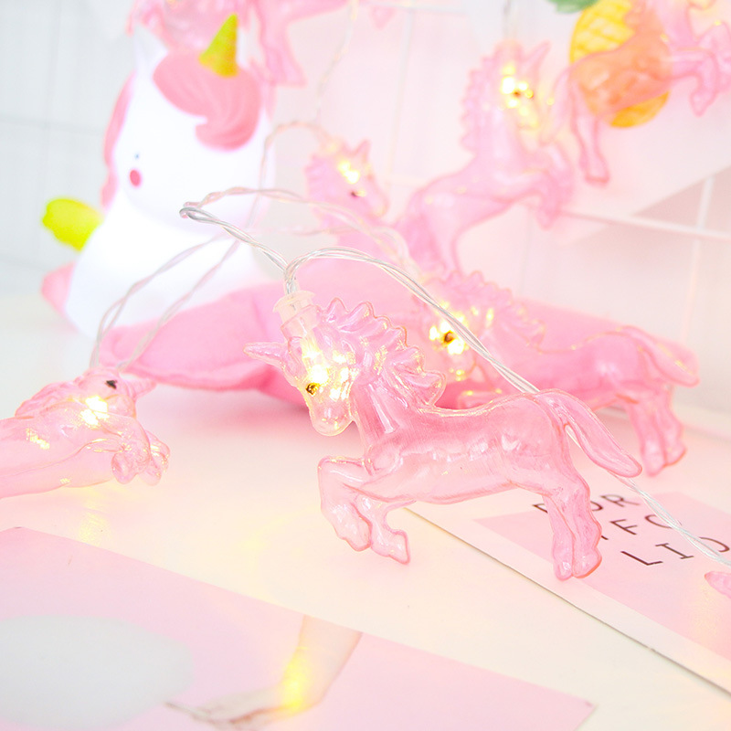 LED Cute Unicorn Pink String Fairy Garland Light Christmas Battery Operated Holiday Wedding Home Girls Bedroom Party Decoration