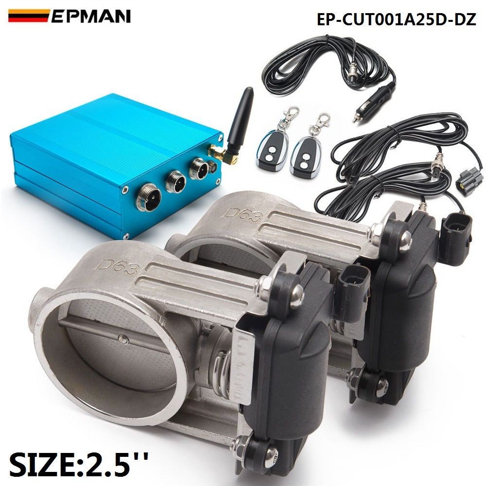 Exhaust Control Valve Dual Set w Remote Cutout Control For 2.5 63mm Pipe 2 sets EP-CUT001A25D-DZ