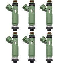 6 قطعة/الوحدة الأصلي لتويوتا لاند كروزر 100 1999 2009 1 1fzfe 4.5L الوقود حاقن 23209 66010 2320966010 23250 66010 2325066010