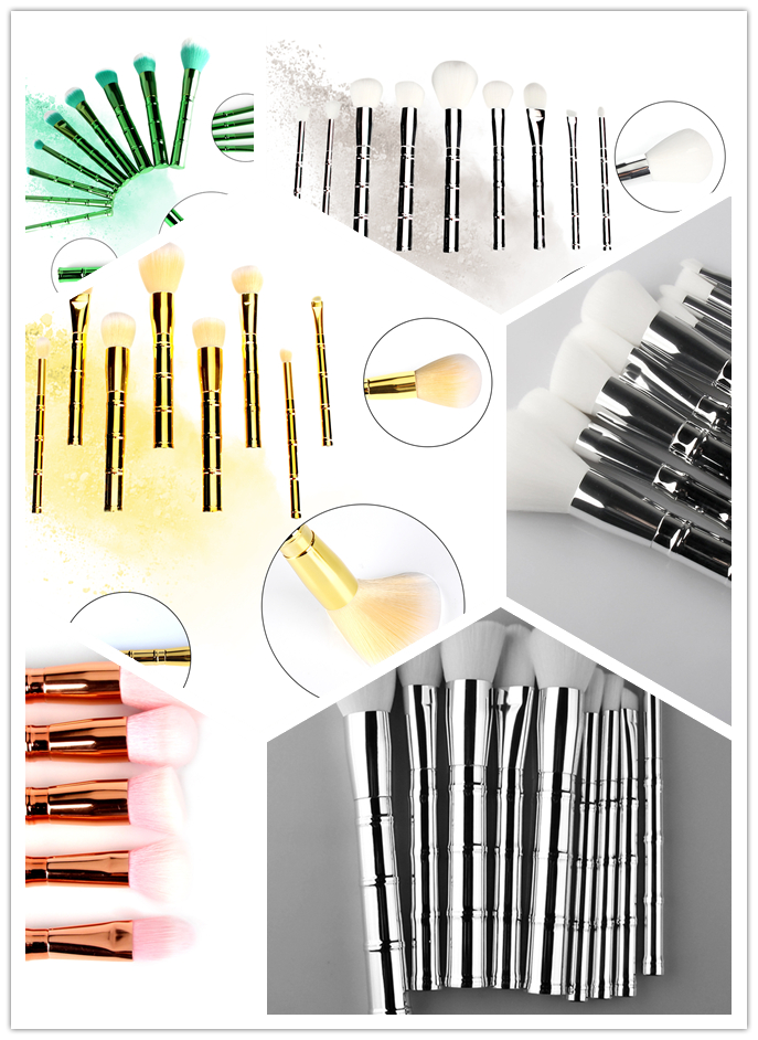 Bamboo Makeup Brushes: 9pcs Bamboo Shaped Makeup Brush Pro Makeup Brushes Set SCC