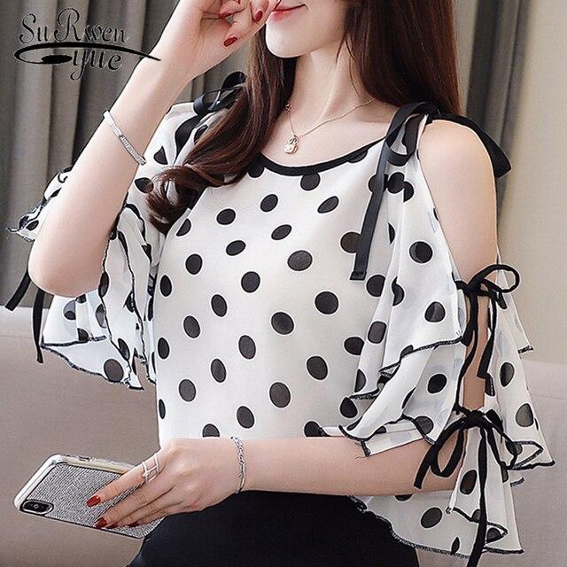 נשים חולצות וחולצות שחור דוט שיפון נשים חולצה 2019 פרפר שרוול נשים חולצות קיץ צמרות את כתף למעלה 3096 50
