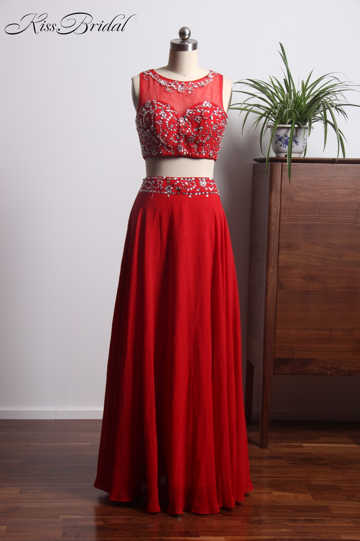 vestidos de graduacion 2017 New Elegant Two Pieces   Prom     Dresses   Long 2018 Chiffon Red Evening Gowns For Women
