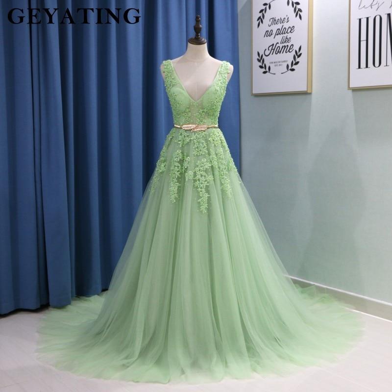 Ihram Kids For Sale Dubai: Saudi Arabic V Neck Mint Green Prom Dresses 2019 Long