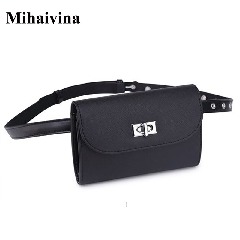 Mihaivina New Brand Women Leather Waist Bags Mini Phone Purse For Women Fanny Pack Belt Bag Women Bag Black Waist Pack Wholesale