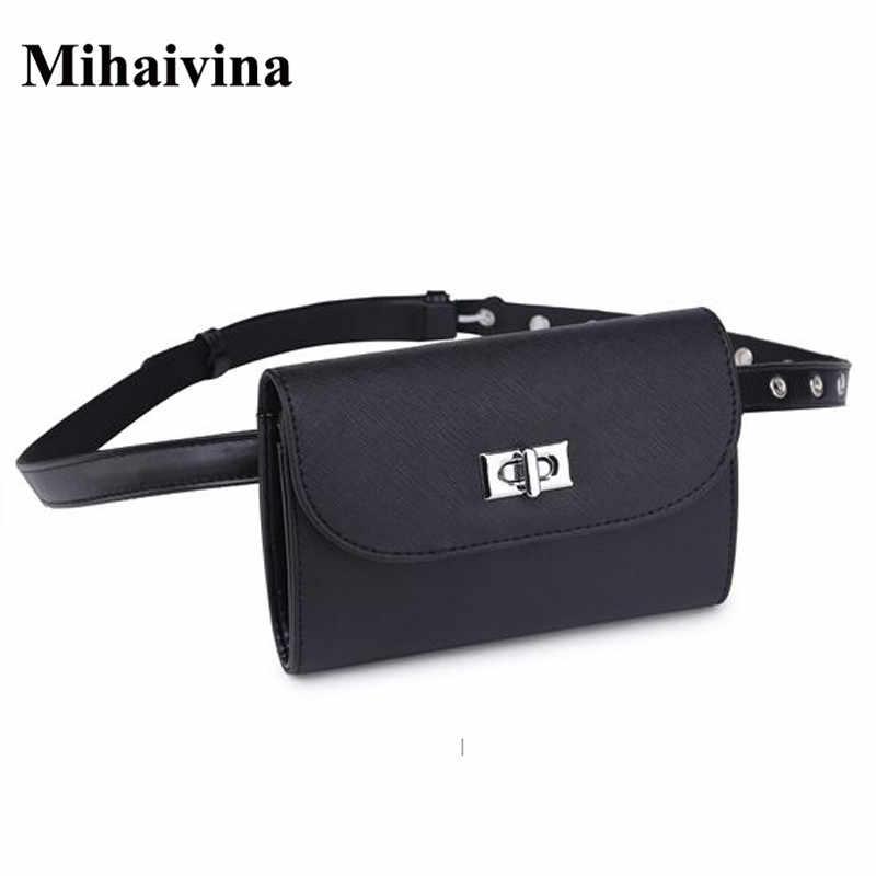Mihaivina 新ブランド女性革ウエストバッグミニ電話財布女性のためのファニーパックベルト女性のバッグの黒ウエストパック卸売