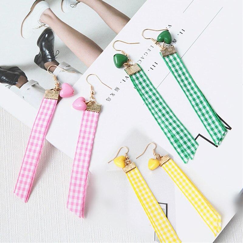 2018 Unique Design Lovely Lattice Ribbon Earrings Sweety Love Heart Tassel Earring Pendientes Brincos For Girl Gifts Wholesale