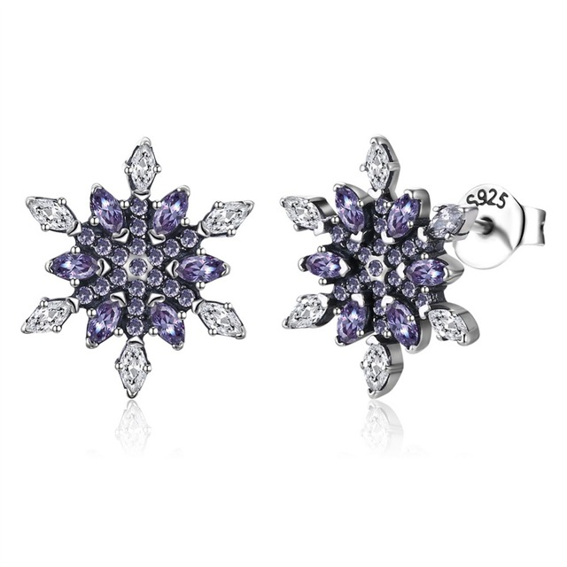 4cafe8a8e Ladies Crystal Snow Flake Bijoux Statement Stud Earrings For Women spark cubic  zirconia