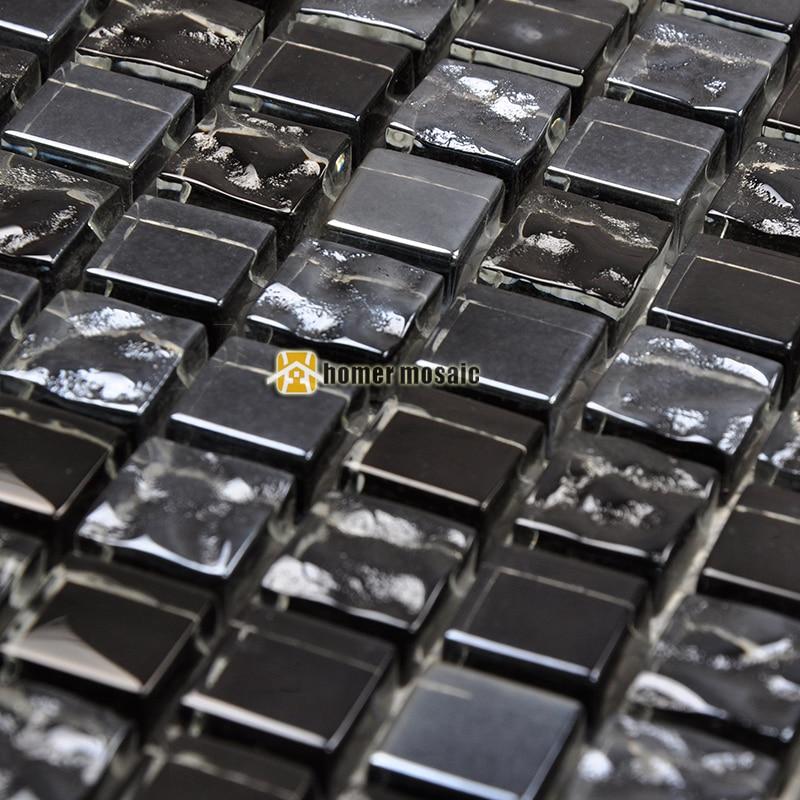 Nero misto di colore grigio piastrelle di vetro mosaico per la ...