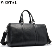 WESTAL leather men large duffle bag luggage suitcases traveling tote with waterproof overnight for hand weekender carry on bags