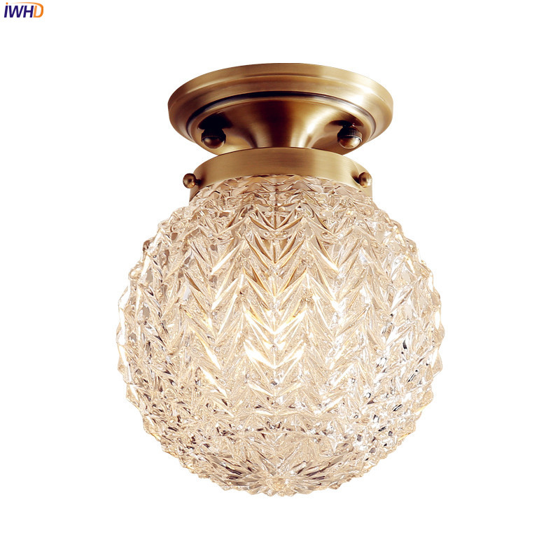 IWHD AmericanCountry LED Ceiling Lights Fixtures Hallway Balcony Glass Ball Copper Vintage Ceiling Light Lamparas De Techo iwhd europe vintage glass led ceiling lights for kitchen hallway balcony copper ceiling lamp plafonnier led lamparas de techo