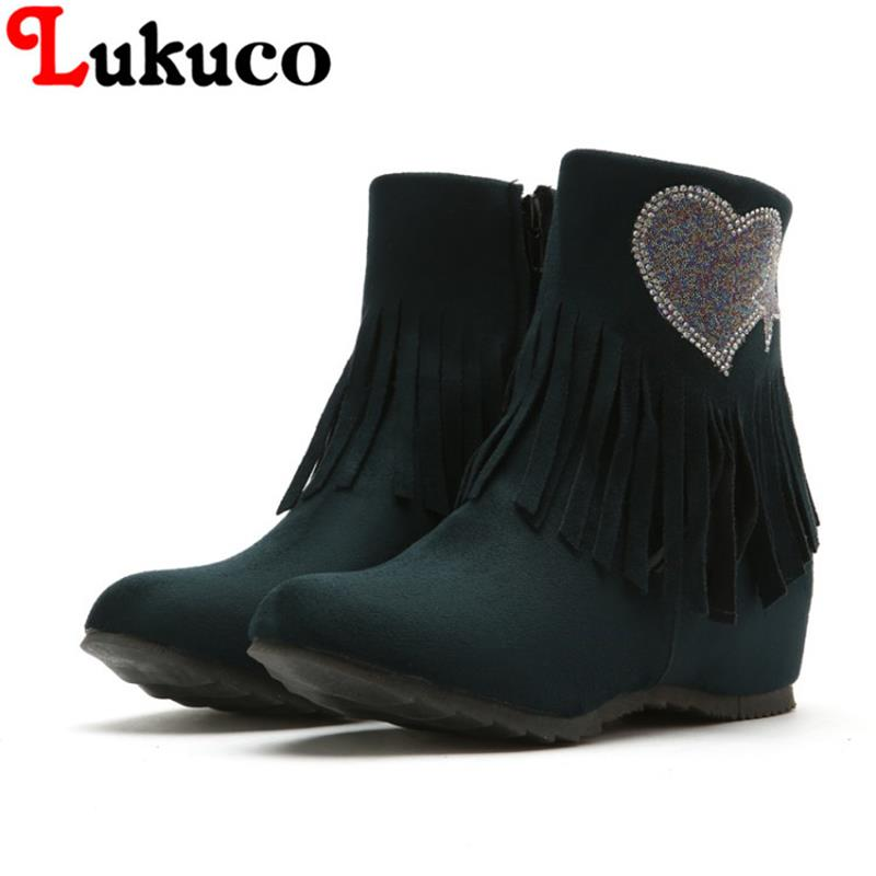 2018 large size to 38 39 40 41 42 43 44 45 46 47 48 Lukuco women ankle boots zipper design high quality lady shoes free shipping