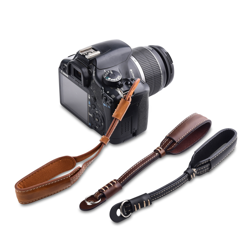 Camera Leather Hand Strap Grip Metal Ring Wrist Strap For Sony Olympus Nikon Canon EOS R 4000D 1300D 800D 750D Fujifilm X-T3 T2