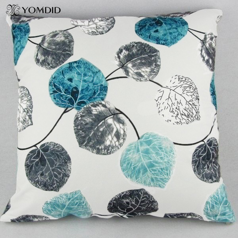Blue Red Leaves Cushion Cover Soft Quality Pillow Case Decorative Pillows  Cover For Home Sofa Car