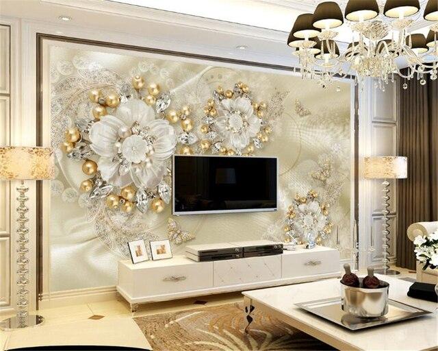 Beibehang custom behang gouden luxe sieraden tv muur achtergrond