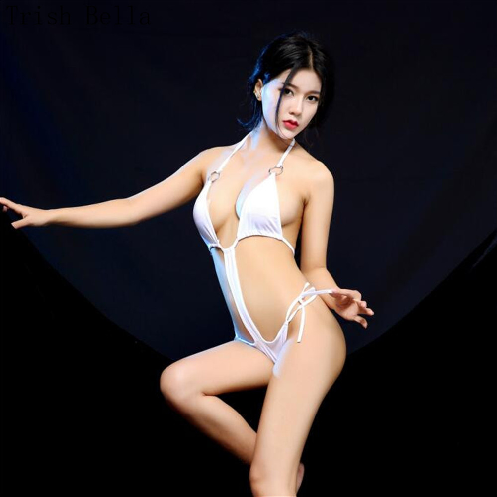 Halter Hollow Out Bikini Frenulum Metal Ring Conjoined Tighten Erotic Lingerie Bodystocking Body Sexy Costumes Catsuit Body Suit