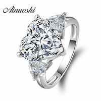 Big Heart 5 Carat Synthetic Sona Simulated Diamond Jewelry Engagement Wedding Rings For Women 925 Sterling
