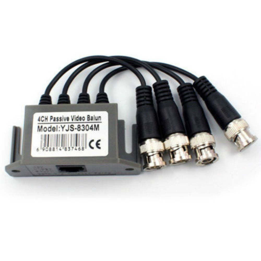 4CH 4 Channel Passive CCTV Camera UTP BNC Video Balun Transceiver Rj45 CAT5 Cable 2pcs promotion new silver utp 4 channel passive video balun transceiver adapter