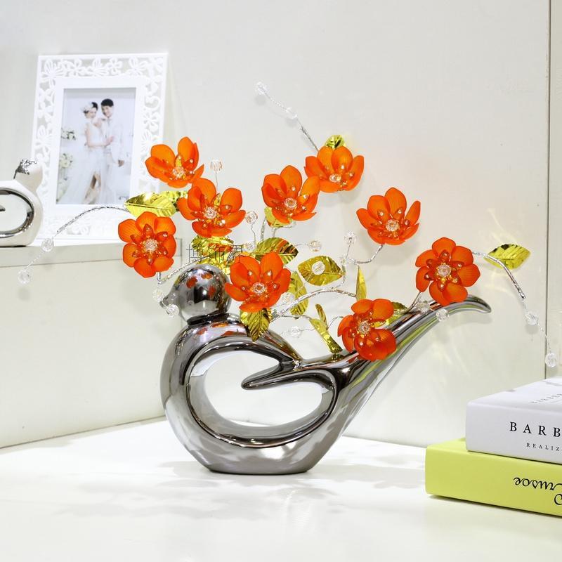 Modern Crystal flower ceramic bird flower vase sitting room Decoration Crafts Top quality Home Decor fashion Wedding Gifts