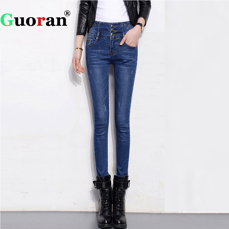 {Guoran} High Waist Women Denim Blue Jeans Trousers Stretch Skinny Female Jeans Pencil Pants Plus Size 32 Jeans Leggings 2015new plus size women jeans trousers casual denim pencil pants spring big elastic high waist empire legging free shipp0828xxxx