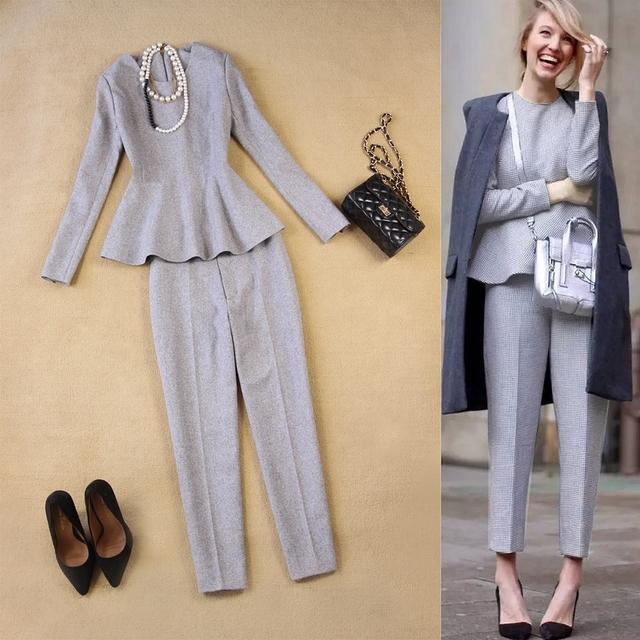 Outono e inverno nova moda das mulheres europeias e Americanas simples cinza de lã tops + 9 calças calças pés terno