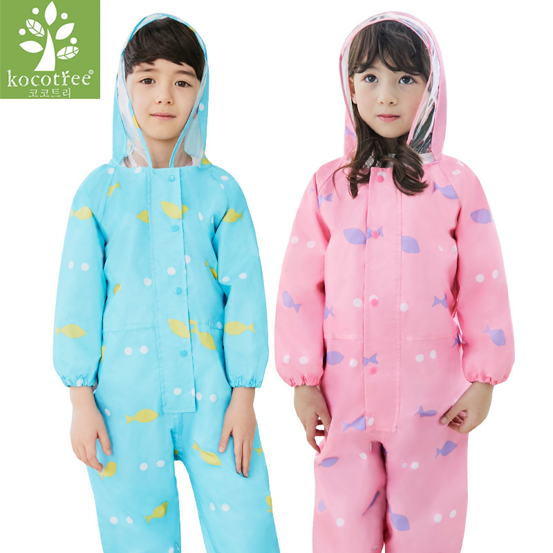 1-6 år gamle barn Raincoat Kids Jumpsuit Gutter Girls One Piece Cartoon Hooded Raincoat Suit Colorful Rainwear Baby Rompers