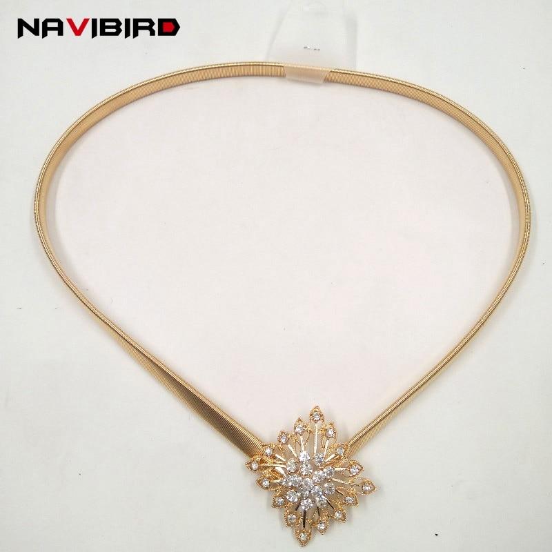 2018 New Trending Glossy Gold Belt Women Dress Rhinestones Jeweled Waist Chain Belts Metal Stretch Elastic Waistband Riem