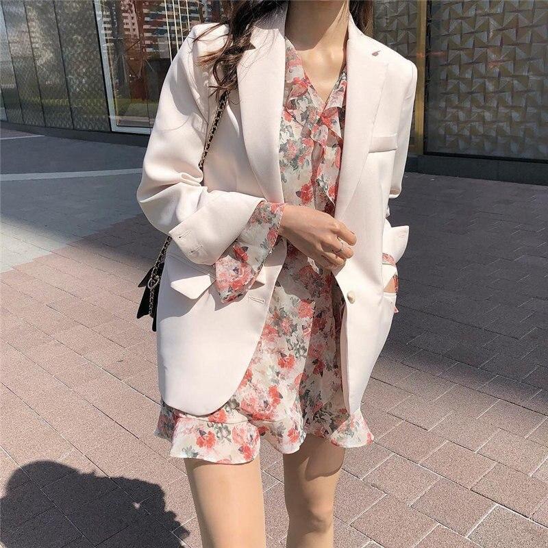 HziriP New Simple Full Sleeves OL Women 2019 Summer Vintage Retro Office Ladies Notched Loose Office Ladies Fashion Blazer
