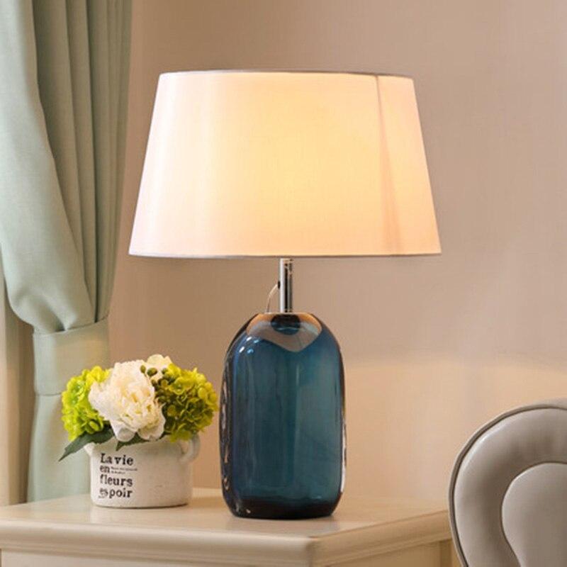 Пост современный кристалл настольные лампы синего стекла светодиодный огни спальня тумбочка свет Гостиная Декоративные лампы с оттенок тк