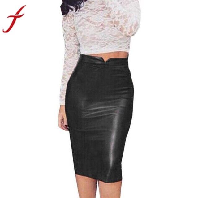9f33d3648a0dd5 € 7.42  2019 nouveau femmes taille haute classique Faux cuir jupe Chic Slim  moulante crayon jupes parti mince paquet hanche Saia Feminina dans Jupes ...