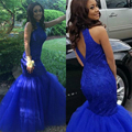 Glamorous Royal Blue Mermaid Evening Dresses Keyhole Back Beaded Lace Tulle Formal Dress For Evening Party Girls Prom Gown PE29