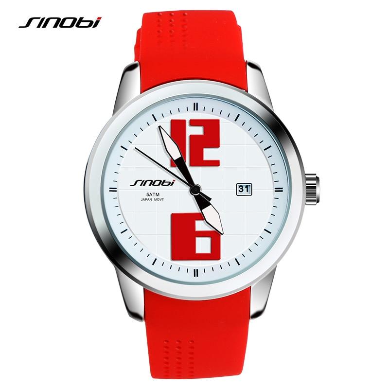 SINOBIトップブランドの高級クォーツ時計女性スポーツウォッチレッドラバー時計バンドレディース腕時計女性ギフト2018年モントルファム
