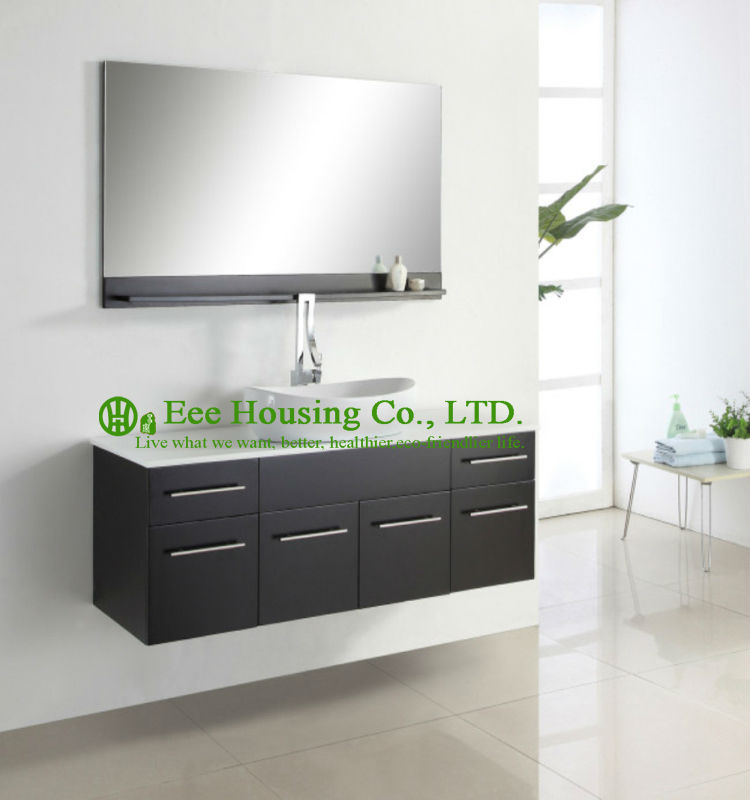 Bathroom Cabinet Luxorious Espresso Finished Single Sink Hanging,One Basin Wall Hung Modern Bathroom Vanities Cabinet