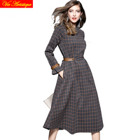 2018 Spring Summer Women S Retro Long Grey With Coffee Plaid Dress Bandage Plus Size Office