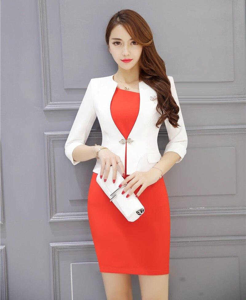 3727 15 De Descuentotrajes De Vestir Formales Para Mujer Trajes De Negocios Con Vestido Y Chaqueta Conjuntos De Ropa De Trabajo Blanco Estilo