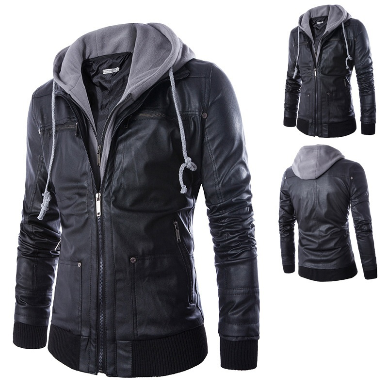 Popular Black Leather Jacket with Hood Men-Buy Cheap Black Leather ...