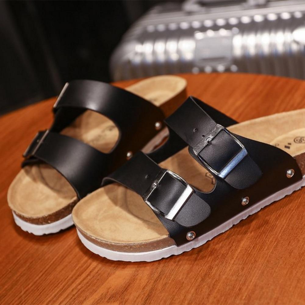 HOT Women/'s Slide Buckle T-Strap Cork Footbed Platform Flip Flop Shoes Sandals
