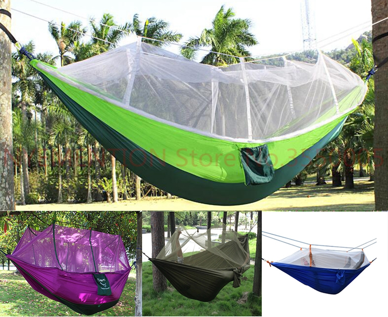 Outdoor Portable camping Mosquito net sleeping hammock High strength parachute Fabric double hanging bed  1pcsOutdoor Portable camping Mosquito net sleeping hammock High strength parachute Fabric double hanging bed  1pcs