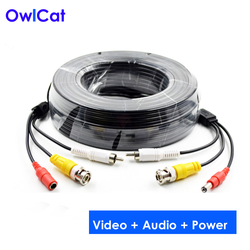 OwlCat CCTV Coaxial Cable BNC DC RCA Line for CCTV Camera Video Audio Power Siamese Cable for Surveillance Camera DVR System