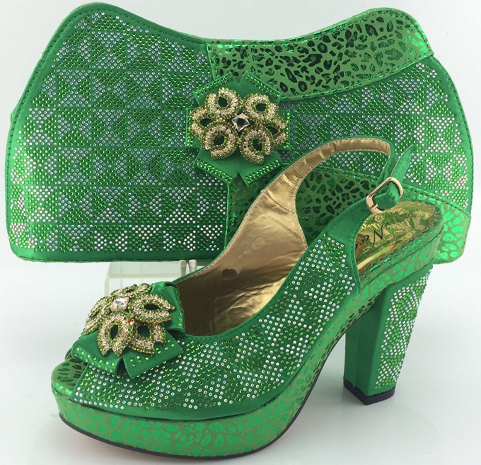 Nigerian Wedding Shoes And Matching Bag Set With Stones High Quality font b Woman b font