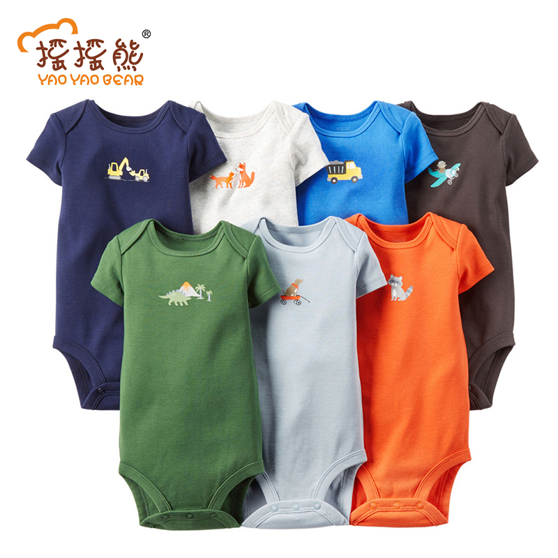 7pcs/lot Baby Bodysuit Summer Baby Clothing Set Newborn Baby Boy Clothes Short Sleeve Cotton Baby Jumpsuit Bodysuit Set 2017