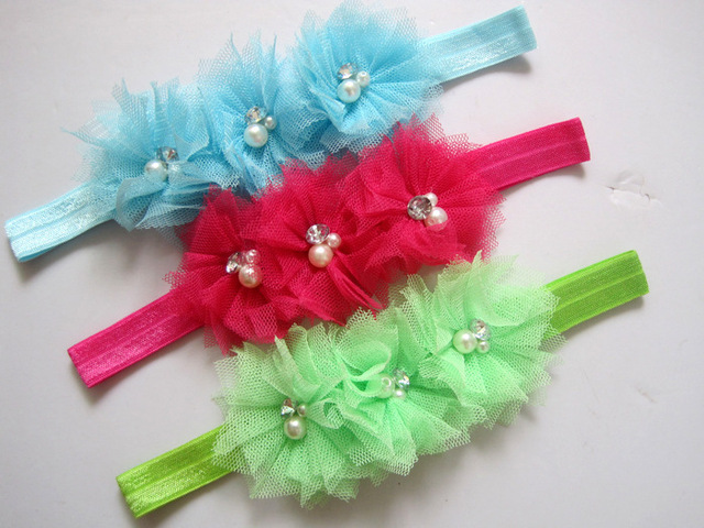 free shipping 15pcs/lot 2.5'' Flower with pearl stone Baby Headbands Newborn hair bands hair accessories