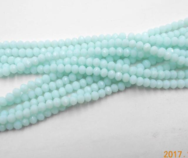 FLTMRH  Non-hyaline Blue Color Rondelle Austria faceted Crystal Glass Beads