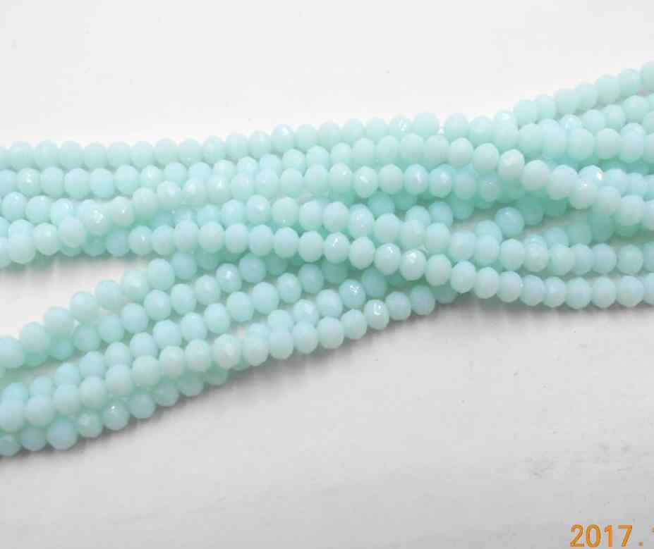 FLTMRH  Non-hyaline Blue Color 3*4mm 140pcs Rondelle Austria faceted Crystal Glass Beads Loose Spacer Round Beads for Jewelry