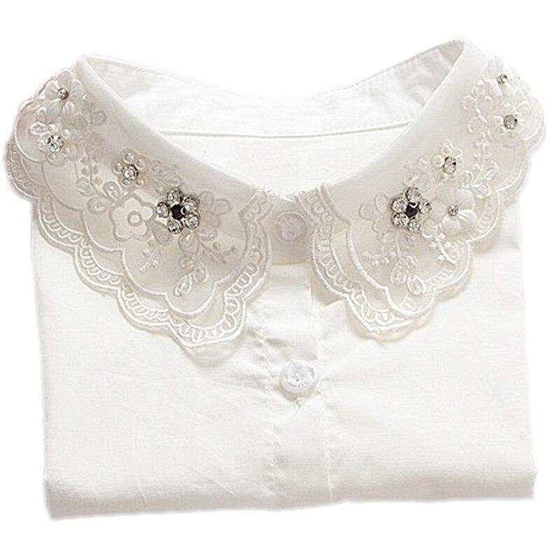 2017 قميص طوق وهمية الأبيض والأسود - ملابس واكسسوارات