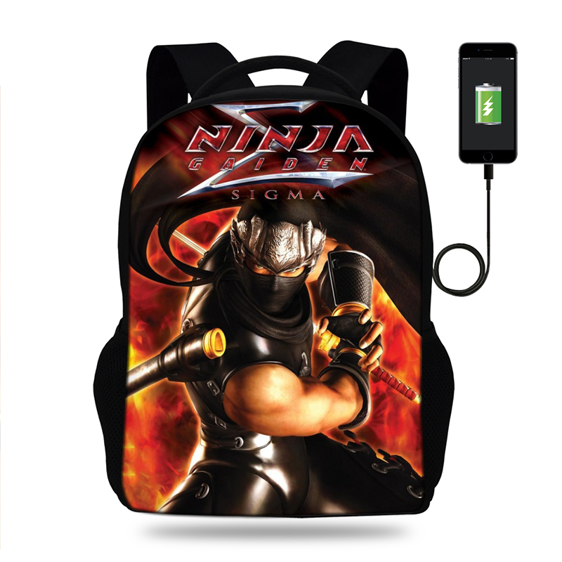 US $26.12 35% OFF|Men's 3D Ryu Hayabusa Ninja Gaiden Print USB Charging  Backpacks Teenager Boys Bagpack Cool Tourism Package for Travel Mochila-in  ...