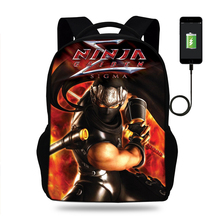 Mens 3D Ryu Hayabusa Ninja Gaiden Print USB Charging Backpacks Teenager Boys Bagpack  Cool Tourism Package for Travel Mochila