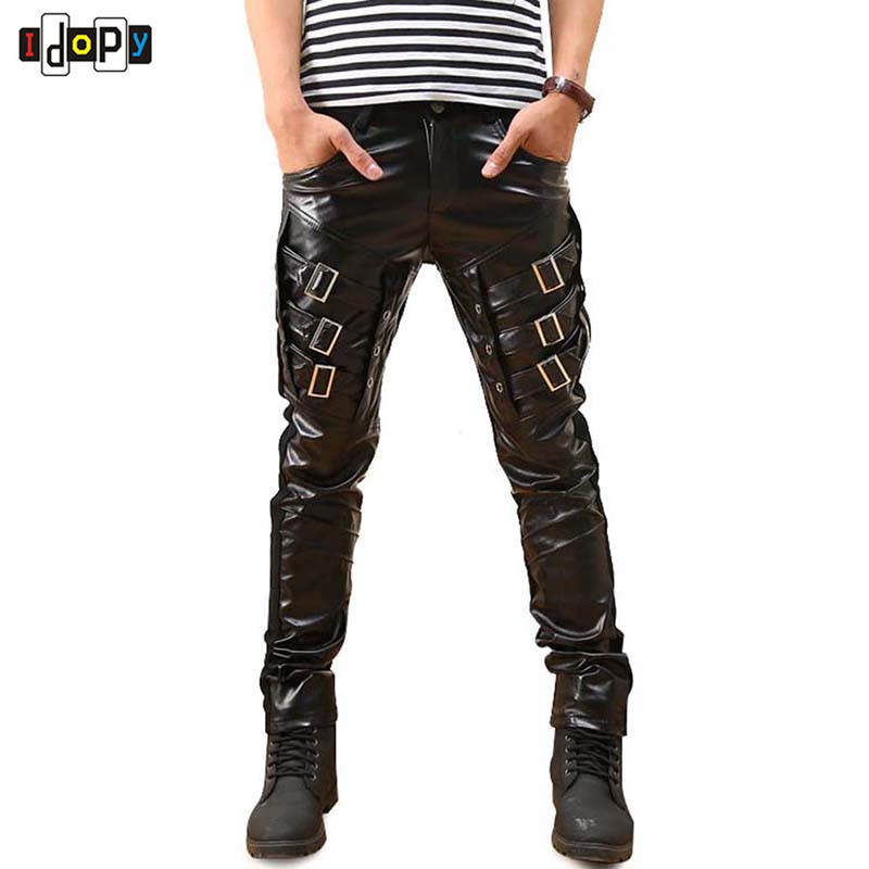 Ny Ankomst Herre Koreansk Gothic Punk Fashion Faux Leather Bukser PU Buckles Hip Hop Applique Svart Leather Bukser Mann