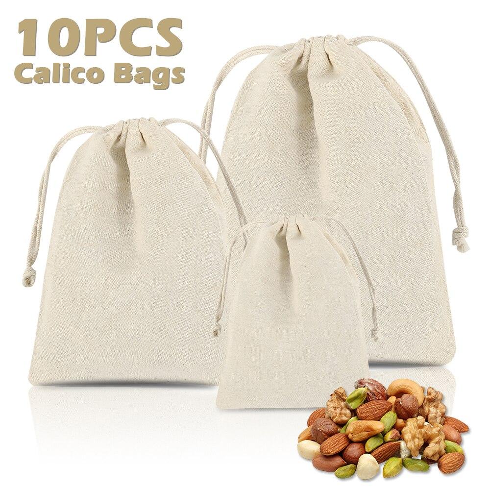 10pc/set Cotton Drawstring Bag Reusable Handmade Linen Bag Small Shopping Coin Travel Storage Small Christmas Gift Pouch